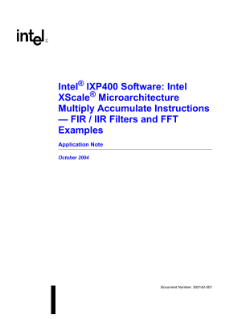 Intel® IXP400 Software FIR/IIR Filter Examples: Application Note