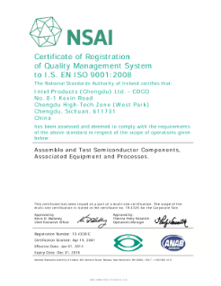 NSAI Certificate of Registration of Quality Management System to I.S. EN ISO 9001:2008