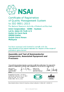 Intel Corporation - SIMS – System ISO 9001:2015 Certificate