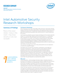 Intel Automotive Security Research Workshops | Summary of Findings