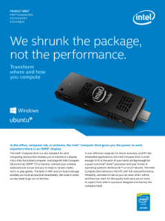 Intel® Compute Stick STCK1A32WFC, STCK1A8LFC Product Brief