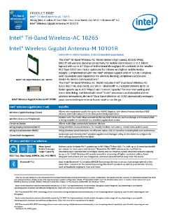 Product Brief: Intel® Tri-Band Wireless-AC 18265
