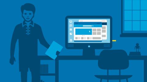 Иллюстрация: человек в офисе за столом, на котором стоит монитор с Intel Compute Stick