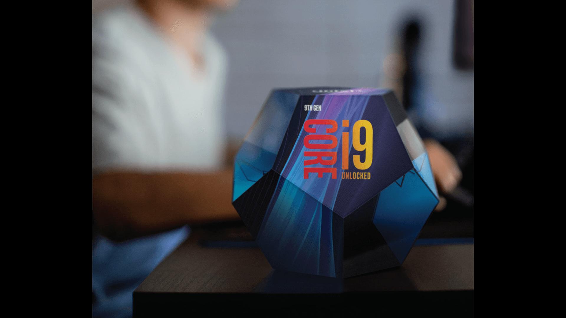 куб с процессором core i9 9-го поколения и фоновым изображением